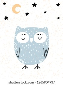 Cute hand drawn nursery poster with cartoon character animal sleeping owl and stars with moon in scandinavian style. Color blue yellow vector illustration.