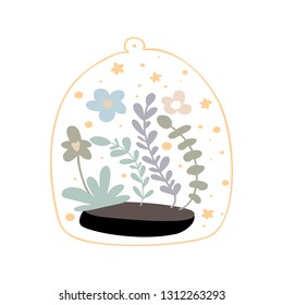 Cute hand drawn nursery poster with flowers in terrariums geometric florariume. White background. Kids vector illustration in scandinavian style.