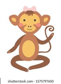Cute hand drawn nursery poster with monkey in scandinavian style