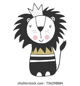 Cute hand drawn nursery poster with lion king in scandinavian style. Monochrome vector illustration.