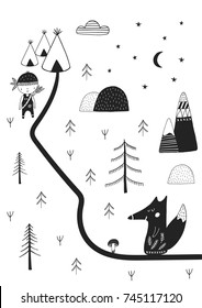 Cute hand drawn nursery poster with wild cartoon animal in scandinavian style. Monochrome vector illustration.