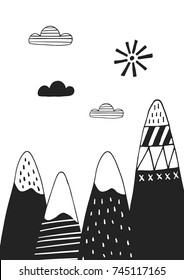 Cute hand drawn nursery poster with mountains in scandinavian style. Monochrome vector illustration.
