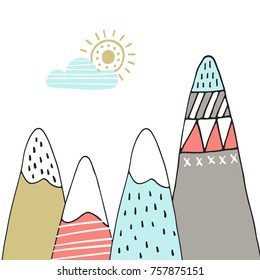 Cute hand drawn nursery poster with cartoon mountains and sun in scandinavian style. Color vector illustration.