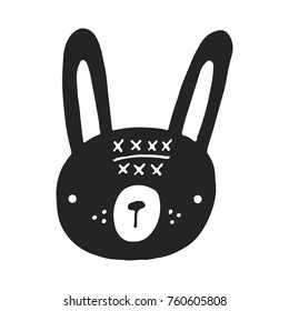 Cute hand drawn nursery poster with hare in scandinavian style. Monochrome vector illustration.