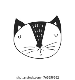Cute hand drawn nursery poster with cat character in scandinavian style. Monochrome vector illustration.