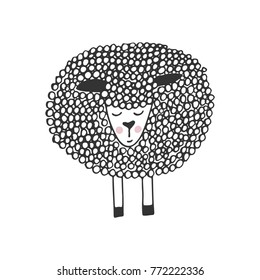 Cute hand drawn nursery poster with unique little sheep in scandinavian style. Monochrome vector illustration