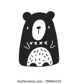 Cute hand drawn nursery poster with bear in scandinavian style. Vector illustration.