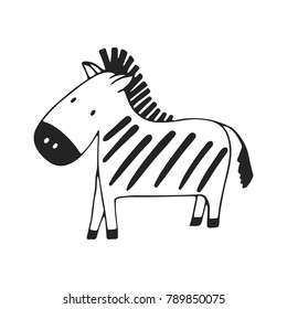 Cute hand drawn nursery poster with zebra in scandinavian style. Vector illustration.