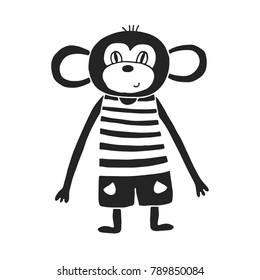 Cute hand drawn nursery poster with monkey in scandinavian style. Color vector illustration.