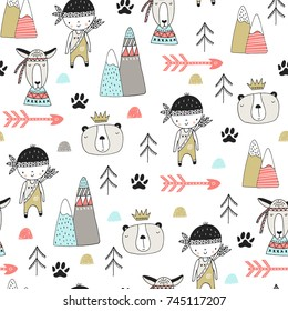 Cute hand drawn nursery seamless pattern with wild animals in scandinavian style. Vector illustration.