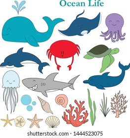 Cute hand drawn ocean creatures. Perfect clipart for your next project!