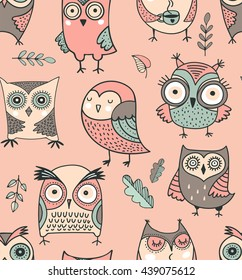 Cute, hand drawn owl pattern, vector watercolor illustrations