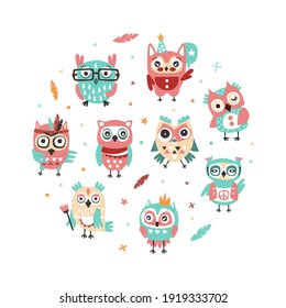 Cute Hand Drawn Owlets in Circular Shape Banner Template, Cover, Poster, Invitation Card, Flyer Design with Funny Colorful Owls Cartoon Vector Illustration