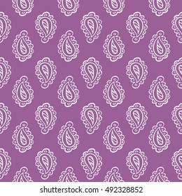 Cute hand drawn paisley seamless pattern
