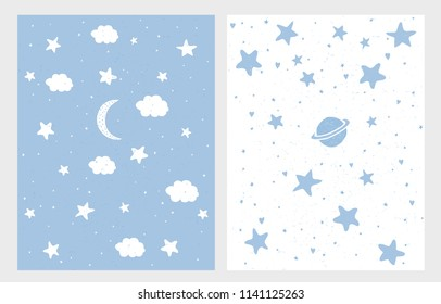 Cute Hand Drawn Pastel Starry Sky Vector Illustrations. Simple Childish Graphic Set. Stars, Clouds and Moon on a Light Blue Background and White Background. Lovely Nursery Art. Cute Night Sky Art.