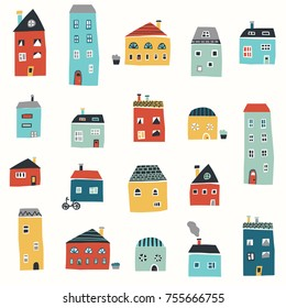 Cute hand drawn pattern with color houses