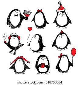 Cute hand drawn penguins set. Merry Christmas greetings