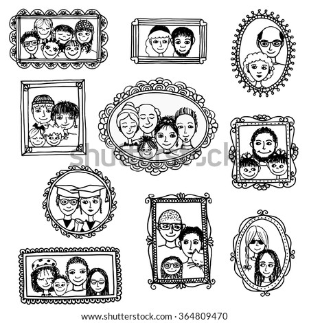 Cute Hand Drawn Picture Frames Family Stock Vector Royalty Free