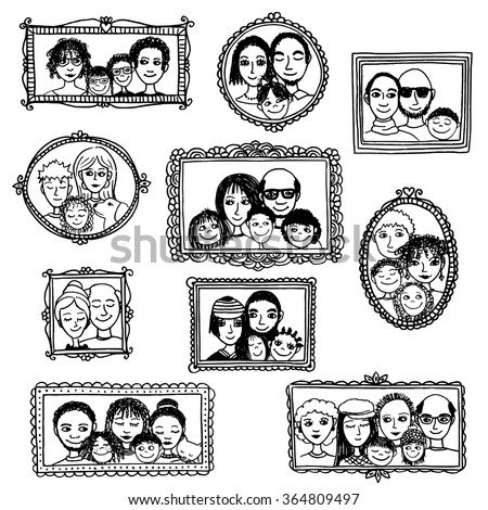 Cute Hand Drawn Picture Frames Family Stock Vector (Royalty Free ...