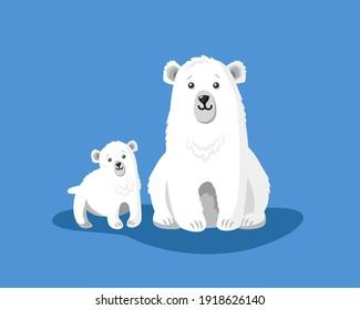 cute hand drawn polar bear with little teddy bear