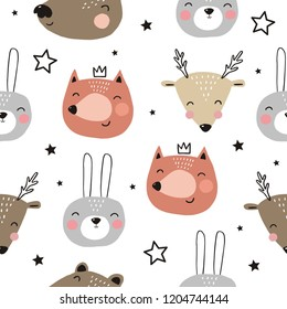 Cute hand drawn print with bear, fox, deer, bunny. Hand drawn modern print for posters, cards, t-shirts. Seamless pattern