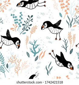 Cute hand drawn puffin seamless pattern, lovely doodle birds background, great for textiles, banners, wallpapers - vector design