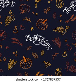 Cute hand drawn pumpkin seamless pattern, great for Thanks Giving and Autumn background, textiles, wallpapers, banners - vector design