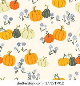 Cute hand drawn pumpkin seamless pattern, hand drawn pumpkins - great as Thanksgiving background, textiles, banners, wallpapers, wrapping - vector design
