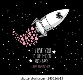 cute hand drawn rocket with hearts, stars background, lovely card for valentine's day, cosmic vector illustration