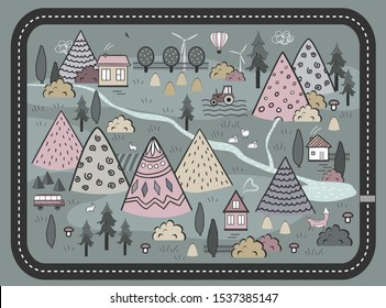 Cute Hand Drawn Scandinavian Vector Background with houses, animals, trees, and mountains. Outline Country nature landscape. Perfect for kids road mats, textile, wall tapestry, or cards