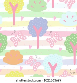 Cute hand drawn seamless pattern with tree vector illustration.