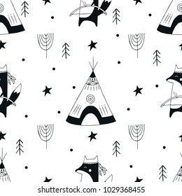 Cute hand drawn seamless pattern with animal character in scandinavian style. Kids vector illustration.