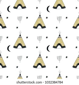 Cute hand drawn seamless pattern with wigwam in scandinavian style. Kids vector illustration.