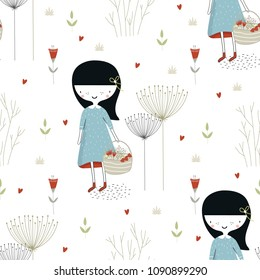 Cute hand drawn seamless pattern with little girl in the forest in scandinavian style. Kids vector illustration.