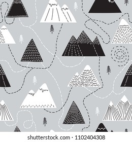 Cute hand drawn seamless pattern with trees and mountains. Creative scandinavian woodland background. Forest. Stylish sketch. Vector illustration