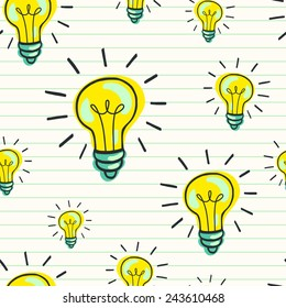 Cute hand drawn seamless pattern with doodle light bulbs on lined notepaper background. Cartoon tiling background.