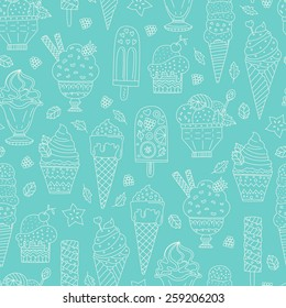 Cute hand drawn seamless pattern with different types of ice cream. Doodle texture with sweet desserts. Perfect background for cafe or restaurant menu.