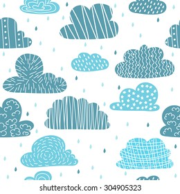 Cute hand drawn seamless pattern with clouds. Funny background. Vector illustration
