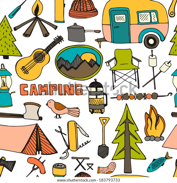 best service 7f269 37599 Cute Hand Drawn Seamless Pattern Camping Stock Vector ...