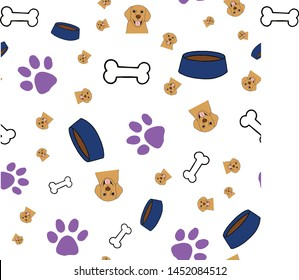 Cute hand drawn seamless vector pattern. Golden retriever, dog bowls, paw prints, and dog bones. Perfect to complement your pet lover's dreams! Great for packaging, stationary, gift wrap, and more.