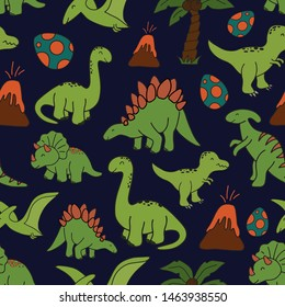 Cute hand drawn seamless vector pattern with dinosaurs. This adorable repeat pattern is great for children's packaging, fabric, gift wrap, and stationary. The unique pattern is great for boys and girl