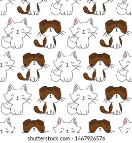 Cute hand drawn seamless vector pattern with cats and kittens. This adorable repeat pattern is great for children's packaging, fabric, gift wrap, and stationary.
