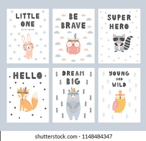 Cute hand drawn set of nursery posters with lettering in scandinavian style. Color vector illustration.