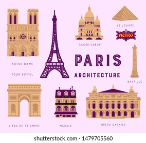 Cute hand drawn set of Paris landmarks and architecture. Notre Dame de Paris, Sacre Coeur, metro sign, Opera Garnier, Bastille tower, Arc de Triomphe, Louvre and typical parisian house.