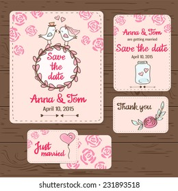 Cute hand drawn set of wedding cards and invitations. Wedding template