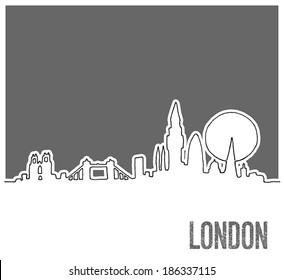 Cute Hand drawn Skyline of London City, Vector Doodle Style