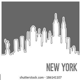 Cute Hand drawn Skyline of New York City, Vector Doodle Style