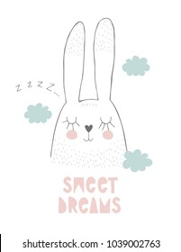 Cute Hand Drawn Sleeping Bunny Vector Illustration. White Rabbit Snoring. White Background. Grey Sketch Design. Pink Sweet Dreams Text. Heart Shape Nose. Blue Clouds.