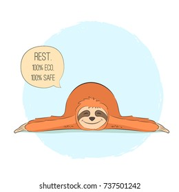 Cute hand drawn sloth in yoga pose Shavasana, poster and greeting card. Vector illustration