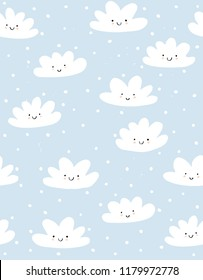 Cute Hand Drawn Smiling Clouds Vector Pattern. White Fluffy Clouds on a Blue Snowy Sky. Simple Infantile Design. Pastel Colors.